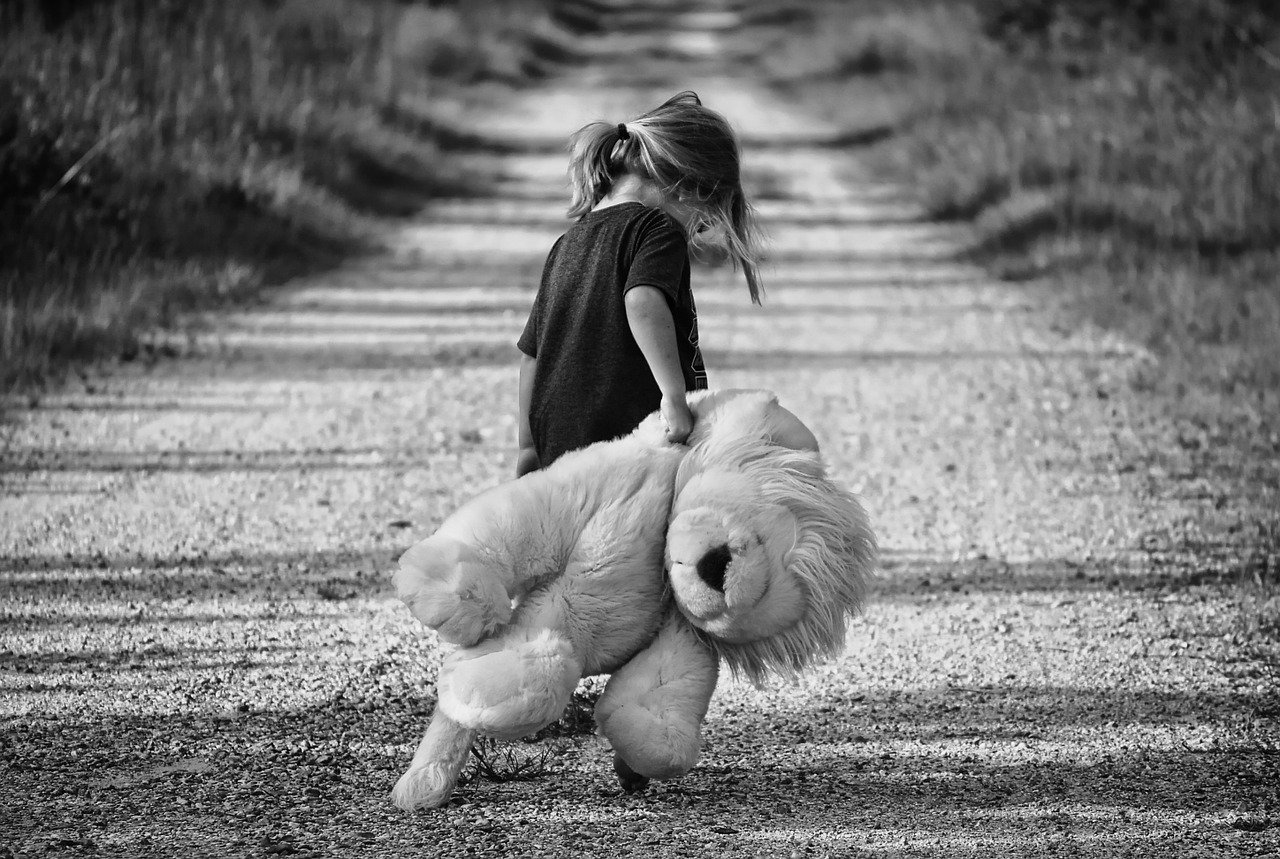 girl walking teddy bear child walk 447701